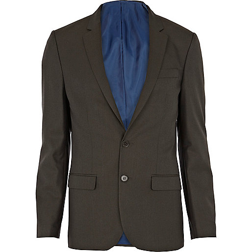 Khaki green skinny suit jacket