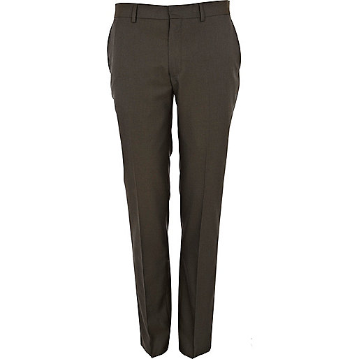 Khaki green skinny suit trousers