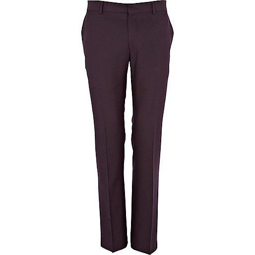 Purple skinny suit trousers