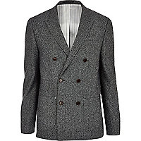 Dark grey tweed double breasted blazer