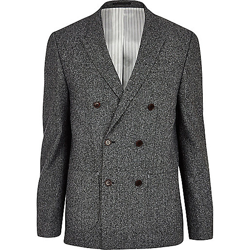 Dark grey double breasted blazer