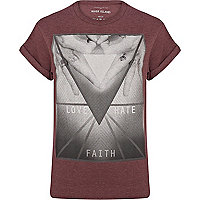 Red love hate faith print t-shirt