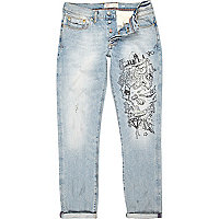 Light wash graffiti print Dylan slim jeans