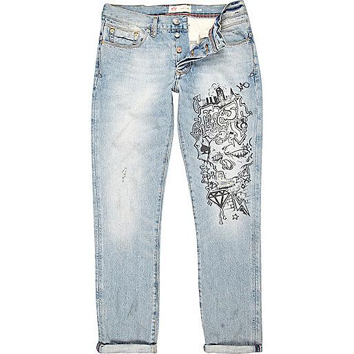 Light wash graffiti print Dylan slim jeans