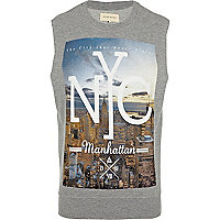 Grey NYC print sleeveless sweatshirt