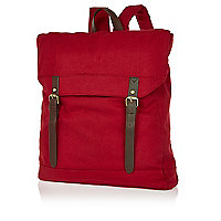 Dark red canvas square rucksack