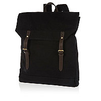 Black canvas square rucksack