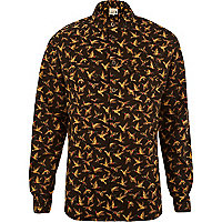Yellow Humor bird print long sleeve shirt