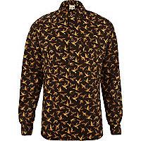 Yellow Humor bird print long sleeve shirt