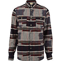 Blue Humor blurred pattern flannel shirt