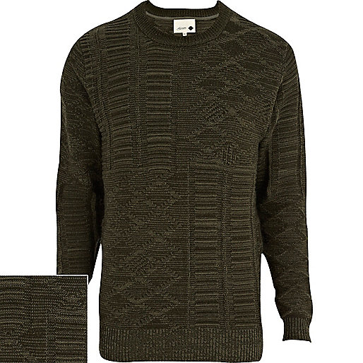 Khaki Humor textured knit jumper