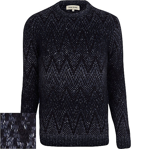 Navy blue geometric ombre jumper