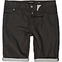 Black denim roll hem shorts