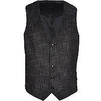 Black slub waistcoat