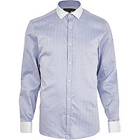 Light blue herringbone long sleeve shirt