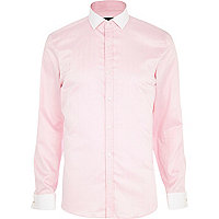 Light pink herringbone long sleeve shirt