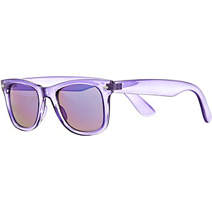 Purple clear retro sunglasses