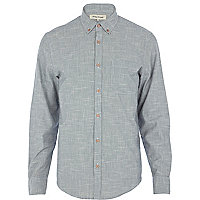 Light blue cross hatch long sleeve shirt