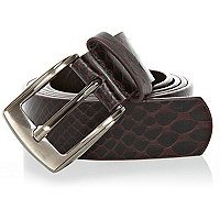 Dark red croc belt