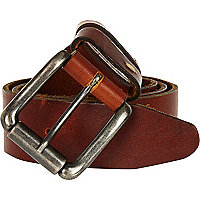 Brown washed leather double keeper belt