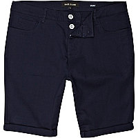 Navy blue skinny stretch shorts