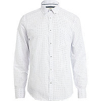 White ditsy diamond print shirt