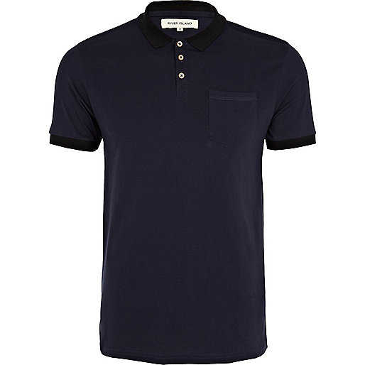 Navy blue contrast trim polo shirt