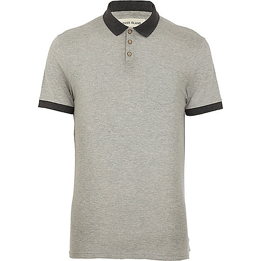 Grey contrast collar polo shirt