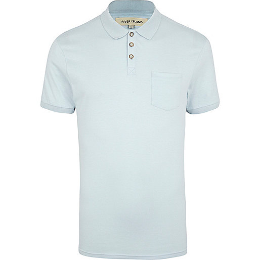 Light blue short sleeve polo shirt