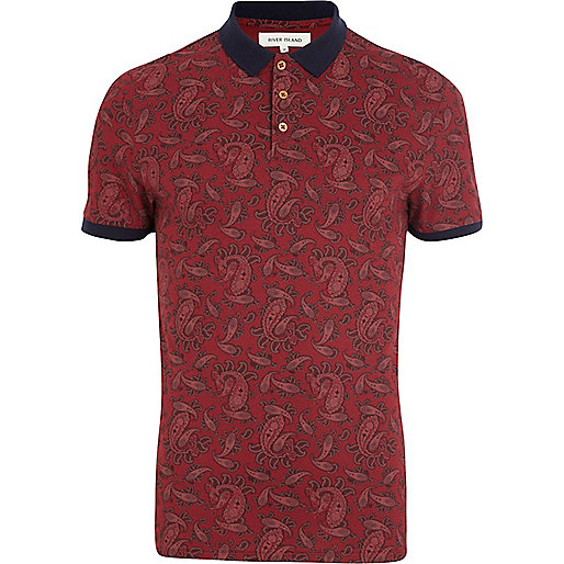 Red paisley print polo shirt