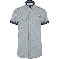 Blue cross hatch short sleeve shirt