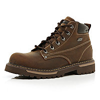 Brown Skechers worker boots