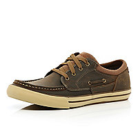 Brown Skechers lace up trainers