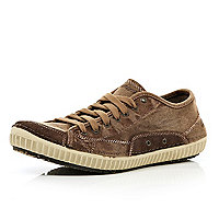 Brown Skechers canvas trainers