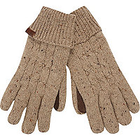 Ecru neppy cable knit gloves