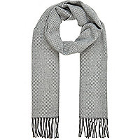 Light grey herringbone brushed scarf