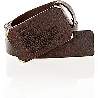 Brown leather plate belt