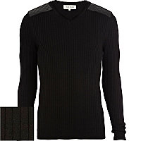 Black quilted patch ribbed V neck jumper