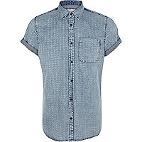 Light wash tile print denim shirt