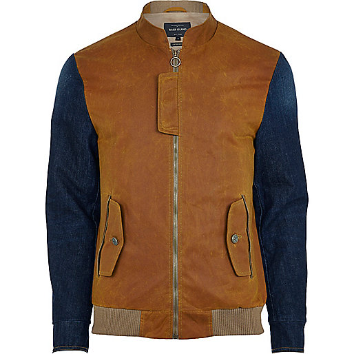 Tan contrast sleeve bomber jacket