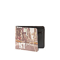 Black NY taxi print fold over wallet