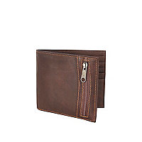 Brown zip trim wallet