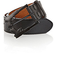Black pistol buckle belt