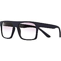 Navy flat top rubberised retro sunglasses