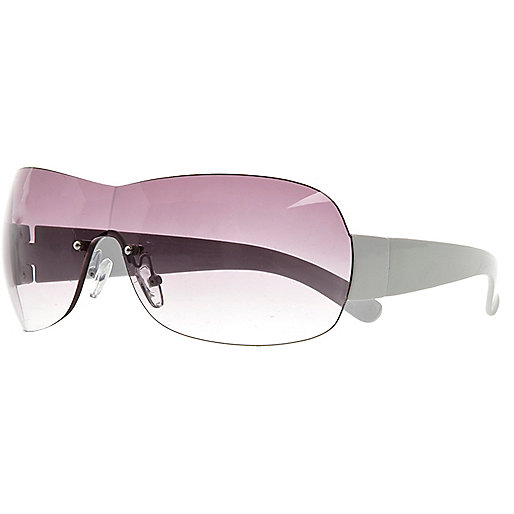 White rimless visor sunglasses
