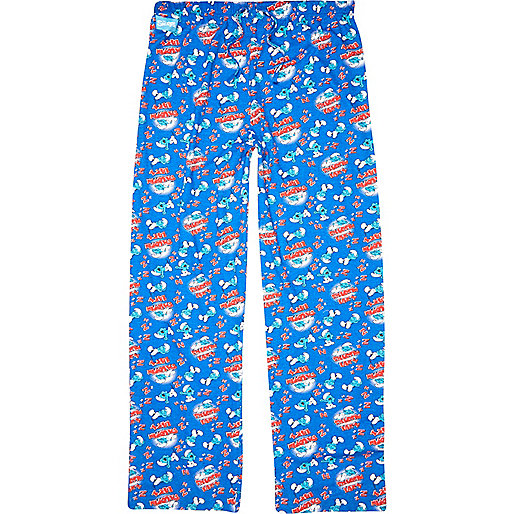 Blue Smurf print pyjama bottoms