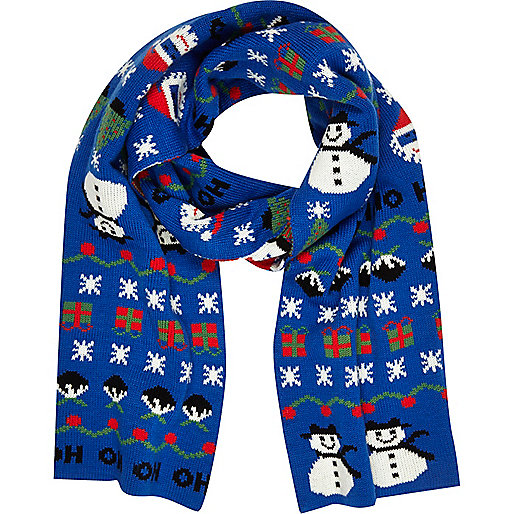 Blue Christmas scarf