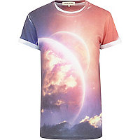 White solar system sublimation print t-shirt