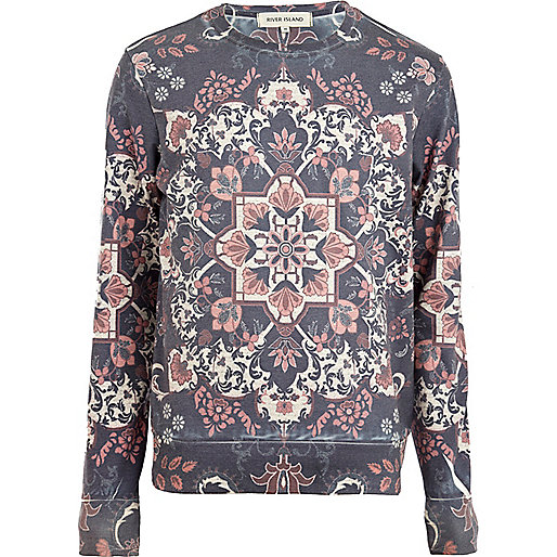 Blue tapestry print sweatshirt