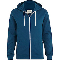 Teal zip through hoodie